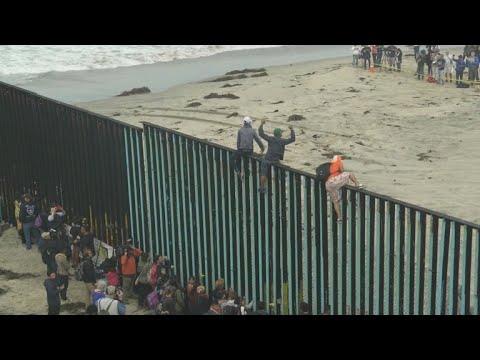 Hundreds of migrants are seeking asylum at Mexico border