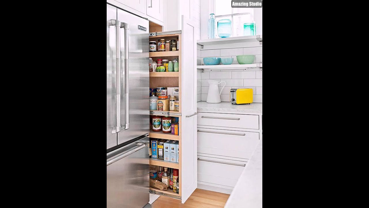 Hidden kitchen pantry designs youtube for Pantry ideas for a small kitchen