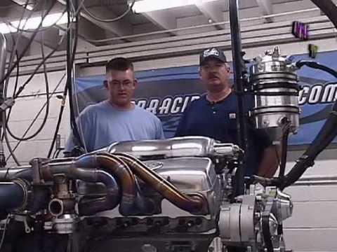 "Nelson Racing Engines TT 427 Mid Engine Dry Sump DYNO.  ""Alien"" Manifold."