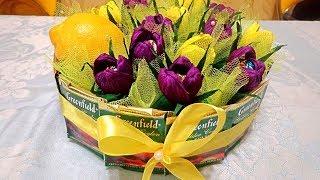 Подарок из цветов-конфет, лимона и чая.  Отличная идея на 8 марта! Цветы из гофрированной бумаги