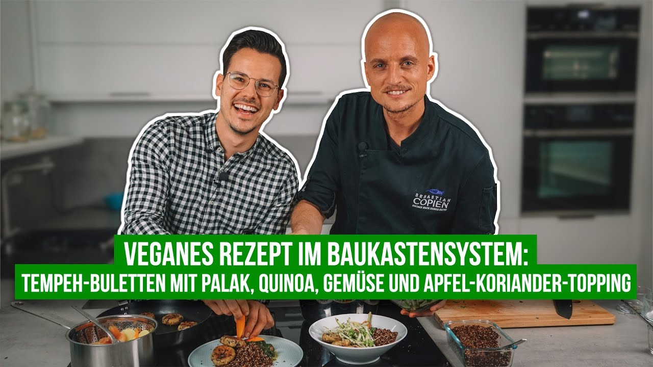 Tempeh-Buletten mit Palak, Quinoa & Apfel-Koriander-Topping • Rezeptvideo mit Sebastian Copien
