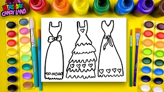 Coloring Page of Beautiful Dresses to Color with Watercolor for Children to Learn Colors 6