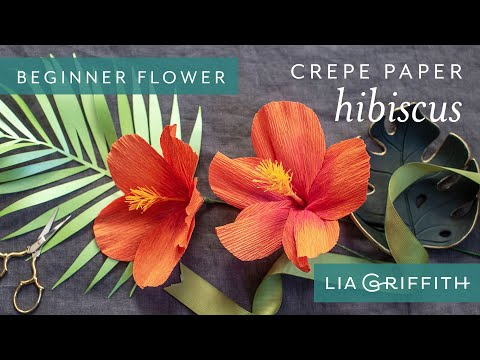 How to Make a Crepe Paper Hibiscus Bloom - Tropical Garden Starter Flower