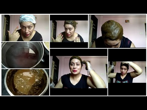 How to prepare henna to get dark brown hair~ best henna application at home in hindi~ beautiful hair