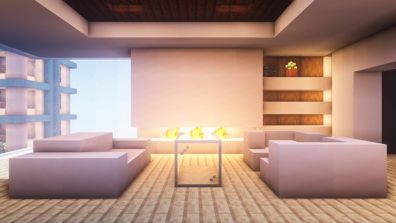 Minecraft How To Build A Modern Living Room Youtube