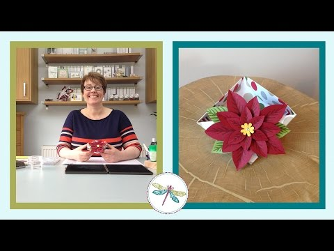Make an easy Origami triangle bowl with Poinsettia decoration