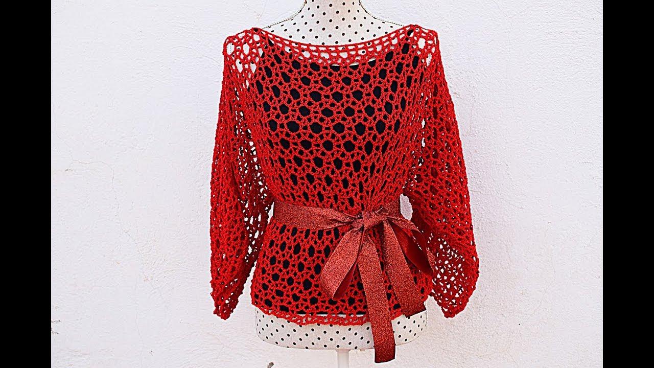 a9ef1d409 Blusa calada tejida a crochet - Patrones gratis