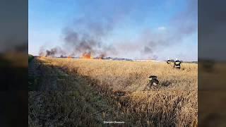 OSP Błonie alarmowo pożar kombajnu i zboża na polu