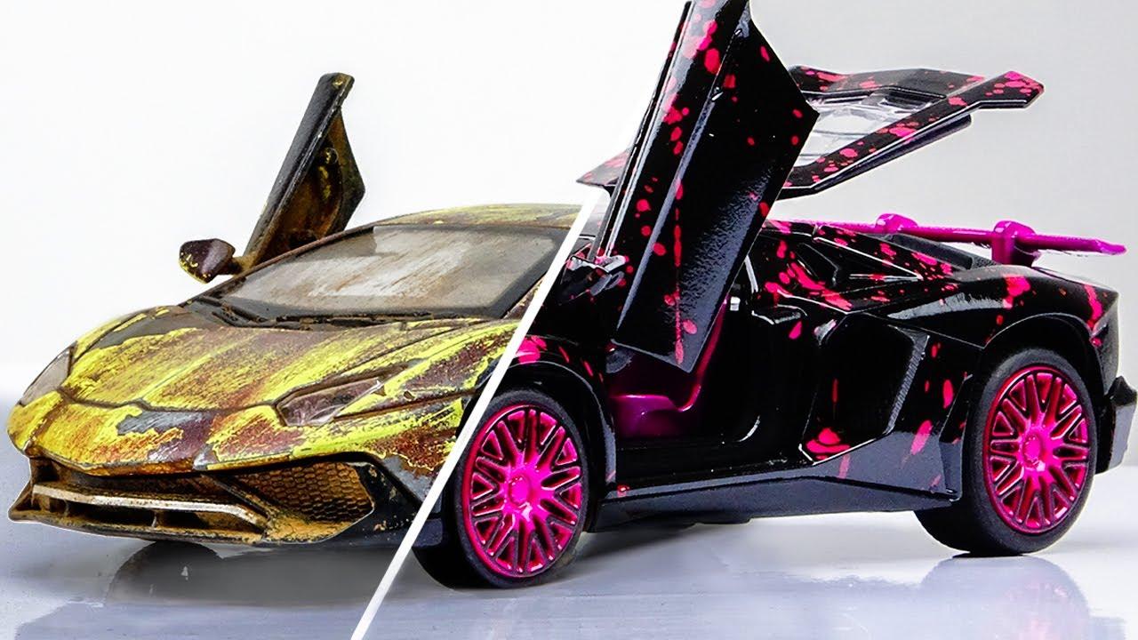 Download Restoration abandoned Lamborghini rebuilding Model Car     Splatter Paint Fx