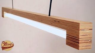 Modern LED Tube Light Fixture made from Plywood