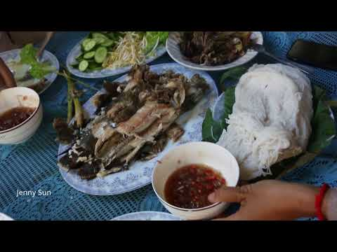 Best Asian Food Cooking At Home - Spicy frogs With Mushroom And Roasted  Fishes Eating With Noodle