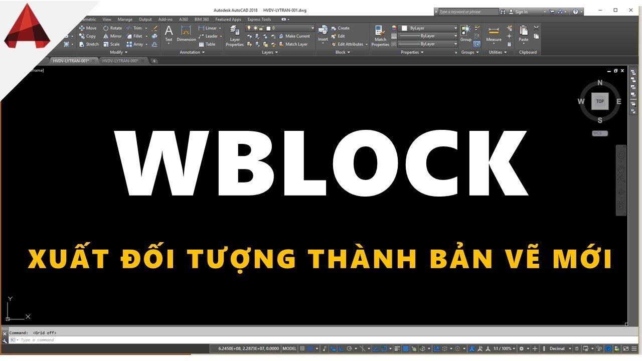 Lệnh Wblock / Xuất một phần đối tượng thành bản vẽ dwg mới / thủ thuật autocad