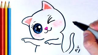 How to Draw Cat Winking - Step by Step Tutorial
