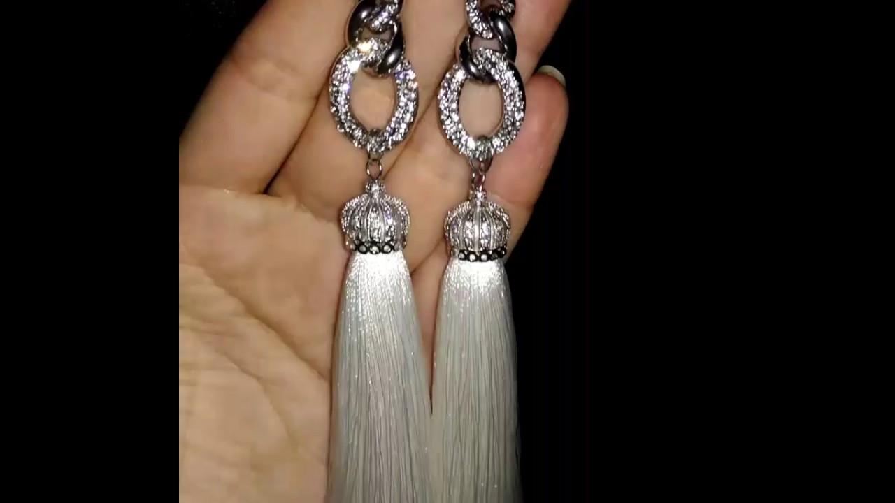 Серёжки своими руками из ниток фото 224