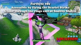 Fortbyte #89 Accessible by flying the Scarlet Strike Glider through the rings east of Snobby Shores