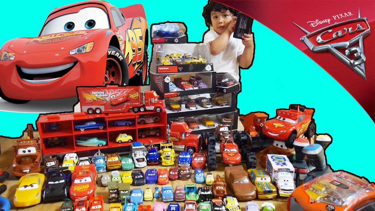 100 Cars 3 Movie Toys Collections Lightning Mcqueen Crash Mater Rama Jackson Storm Youtube