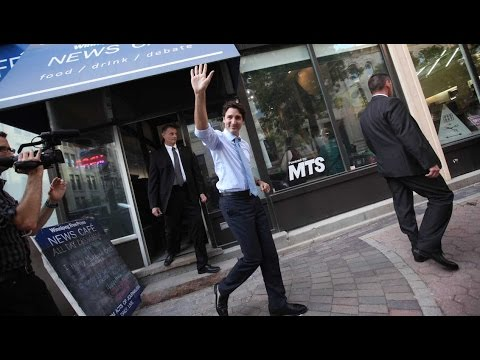 Prime Minister Justin Trudeau visits the Winnipeg Free Press News Café
