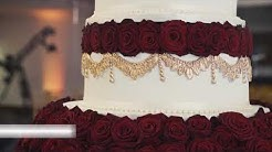 Asian wedding cakes RIVERSIDE venue - 5 tier tower cake red roses