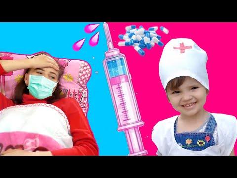 Ариша и Лиза - видео про доктора для детей где дети играют в доктора с куклами