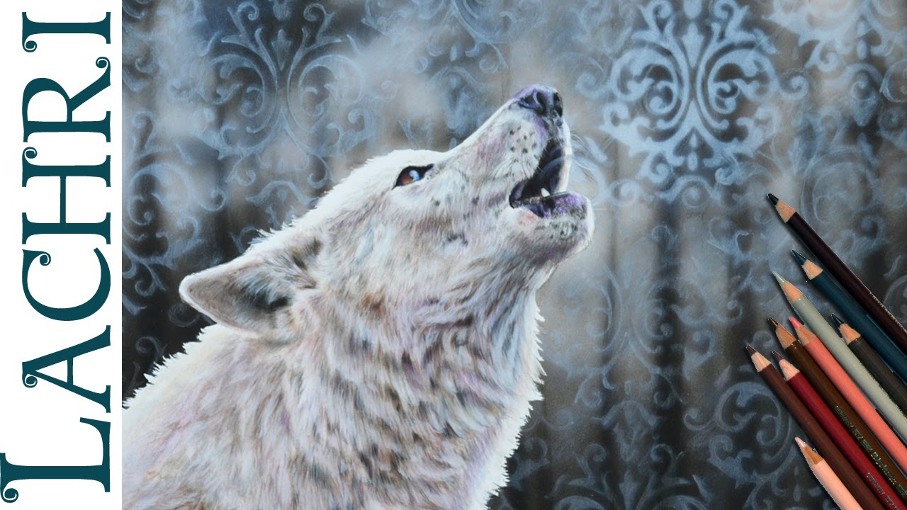 white wolf colored pencil and airbrush speed drawing
