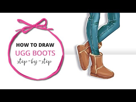 How to draw ugg boots step by step tutorial
