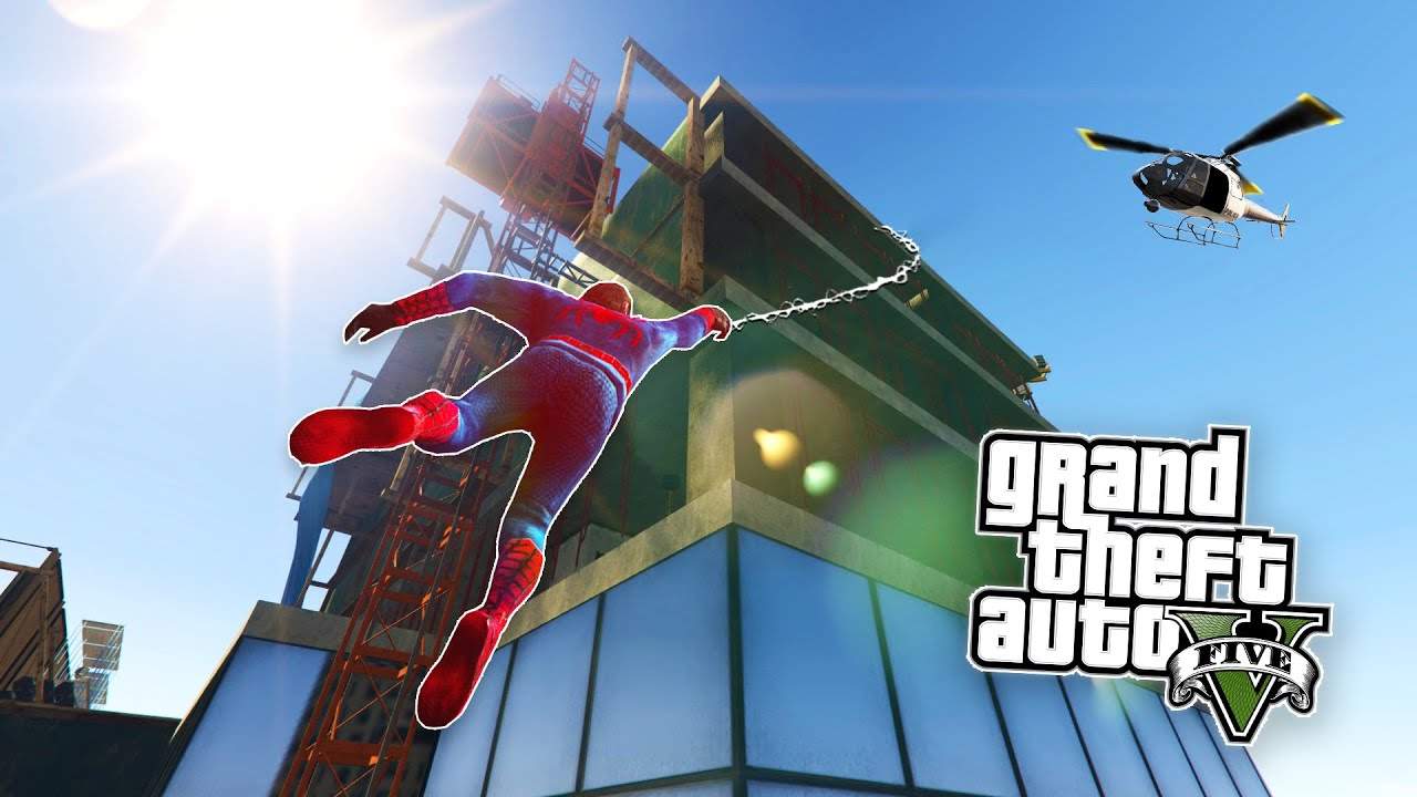 GTA 5 PC Mods - SPIDERMAN MOD w/ GRAPPLING HOOK! GTA 5 Spiderman Mod Gameplay! (GTA 5 Mods Gameplay)
