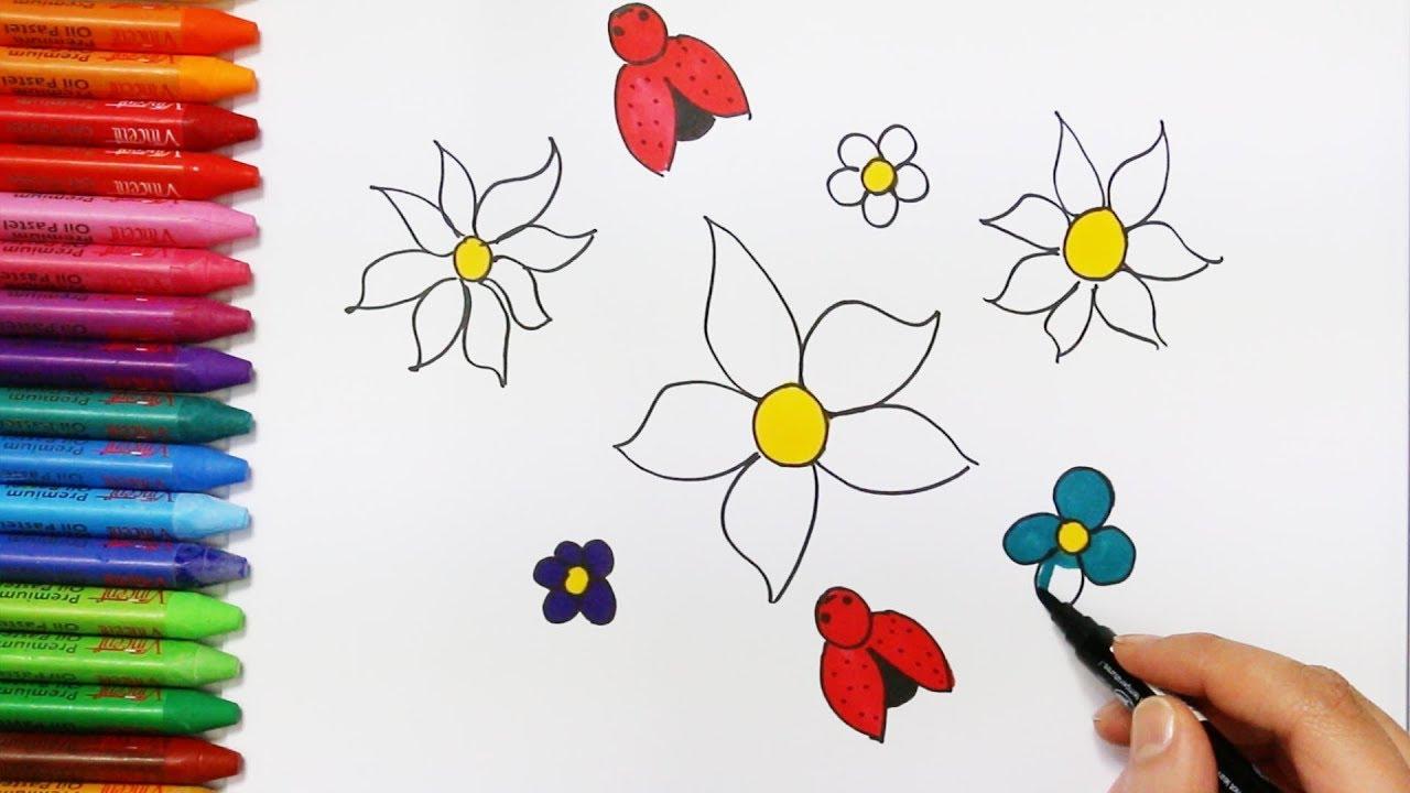 Cara menggambar dan mewarnai bunga Cara Menggambar dan Mewarnai TV Anak