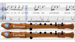 Как играть на блокфлейте песню из к/ф 50 оттенков серого - ноты для блокфлейты zan urokimus
