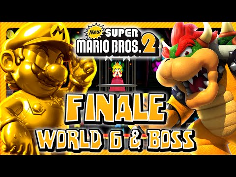 New Super Mario Bros 2 3DS - FINALE - World 6 & Final Boss (2/2) (2 Player) 100%
