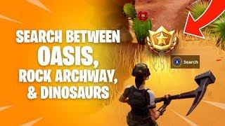 Search between Oasis, Rock Archway, Dinosaurs Location - Fortnite Season 5 Week 2 Challenge