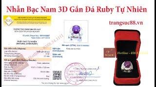 Nhẫn Bạc Nam 3D Gắn Đá Ruby Tự Nhiên Sao Nhẹ, Đã Cấp Kiểm Định - vip_NB0