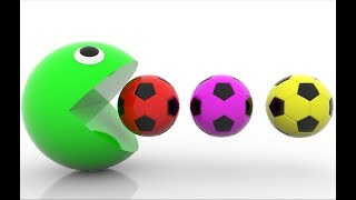 Learn Colors With Soccer Balls and Pacman For Kids - Learning Colors Educational