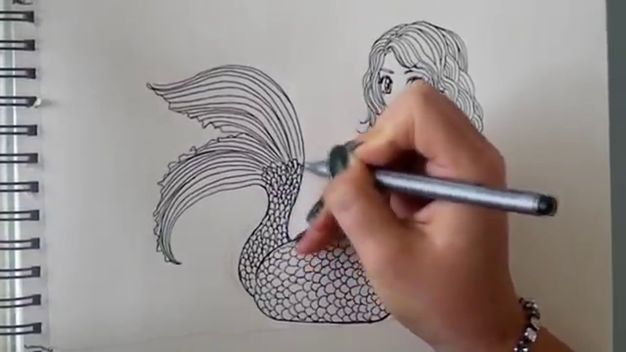 how to draw a mermaid step by step requested part 1  [ 1280 x 720 Pixel ]
