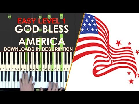 How to play God Bless America easy LEVEL 1 piano cover tutorial for kids