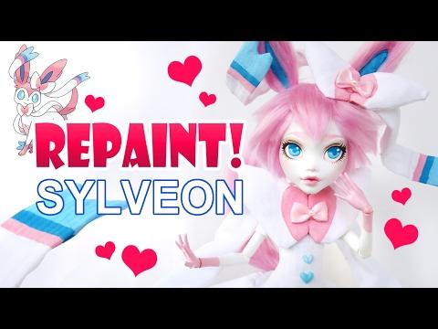 Repaint! Valentine's Day Sylveon Pokemon Custom OOAK Doll
