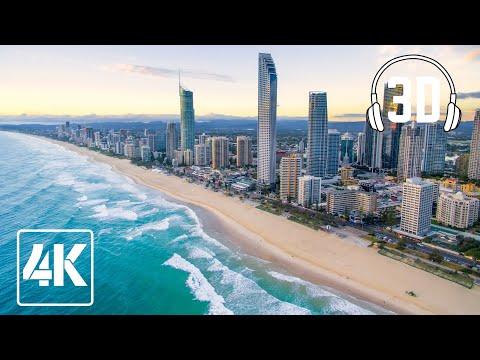 Surfers Paradise Weekend Walk, Gold Coast, Australia (3D Binaural Ambient Sounds) 4K 60fps ASMR