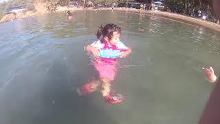Ayşe Ebrar is learning to swim - fun kids video