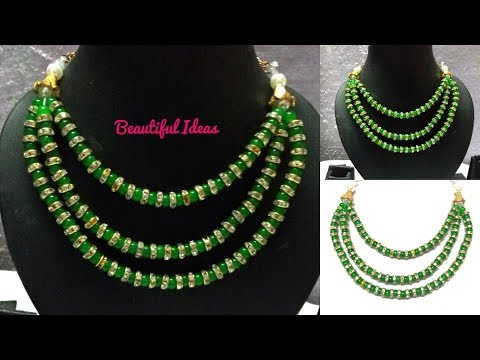 Designer Beads Necklace/Latest Beads Necklace Making at Home/Designer Beads Step Chain Necklace/DIY.