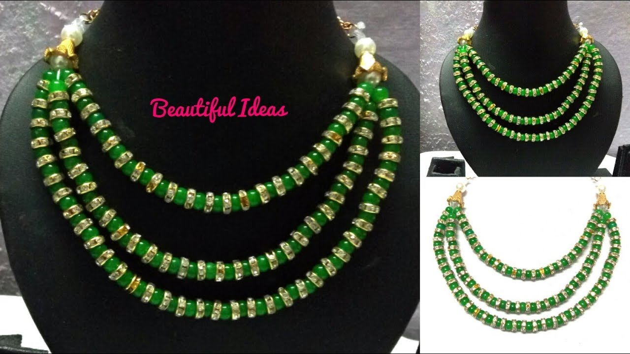 Designer Beads Necklace/Latest Beads Necklace Making at Home ...