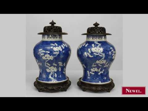 Antique Pair of Oriental Chinese style (19th Cent) blue
