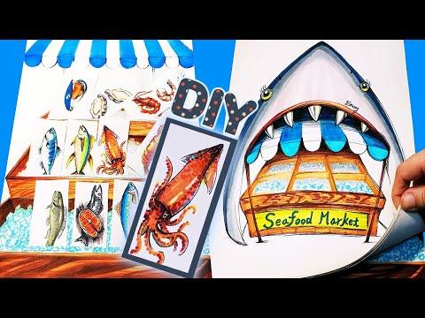 DIY handmade paper quiet book paper doll toy fish market 종이인형놀이 영어로 생선가게에서 쇼핑하기