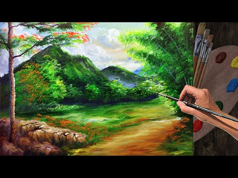 Basic Acrylic Landscape Painting Tutorial with Bamboo and Flowering trees | ART LESSON FOR BEGINNERS