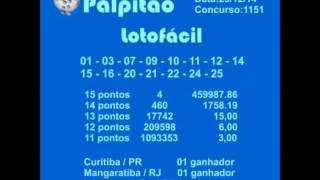 LOTOFACIL CONCURSO 1151  29122014