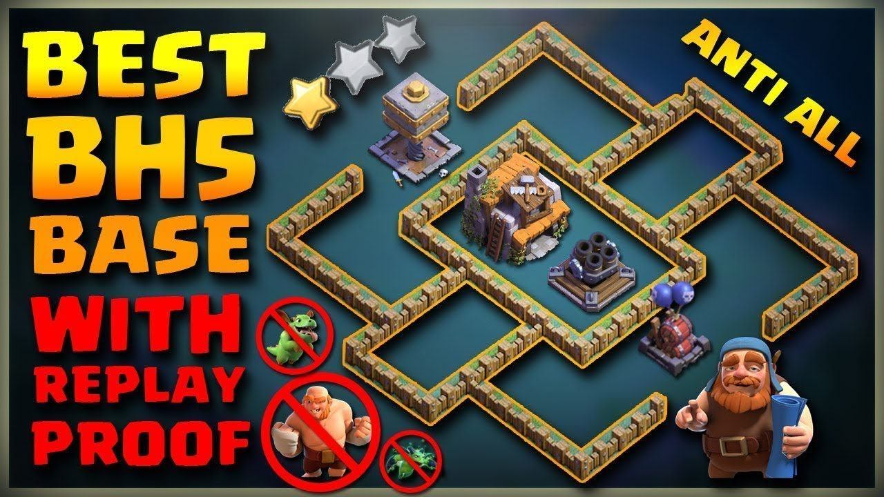 Best Builder Hall 5 Base  Bh5    Defense Replay    Bh5 Base