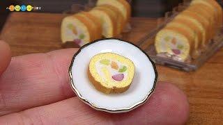DIY Fake food - Miniature Fruit Roll Cake (swiss roll) ミニチュアフルーツロールケーキ作り