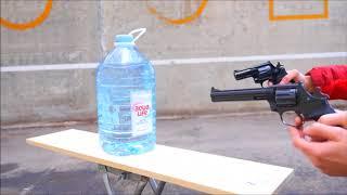 Teste com revolver calibre 22, 38 pistola