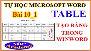 Tự học Microsoft Word - Bài 10_1: Table - Cách tạo bảng trong Winword - Các thao tác trên Table