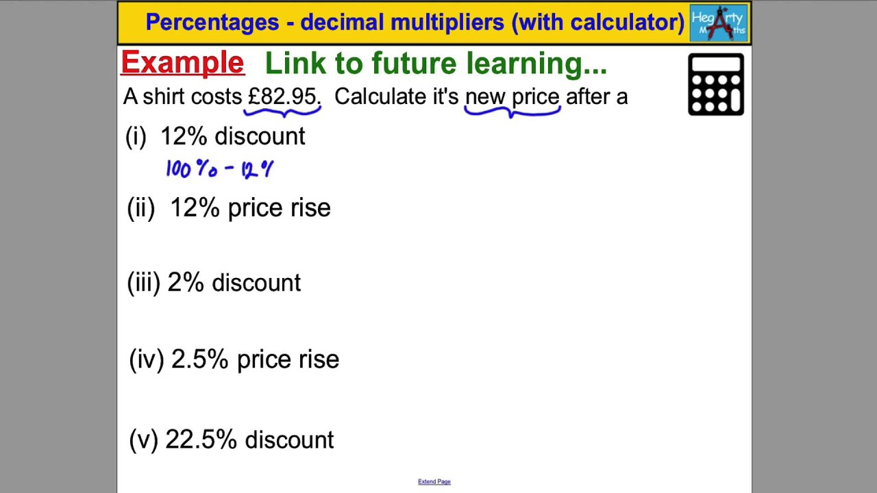 Percentage/decimal multipliers (with calculator) - YouTube