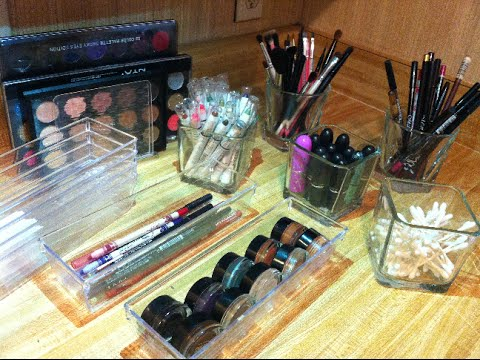 clear makeup storage ideas from dollar tree youtube. Black Bedroom Furniture Sets. Home Design Ideas