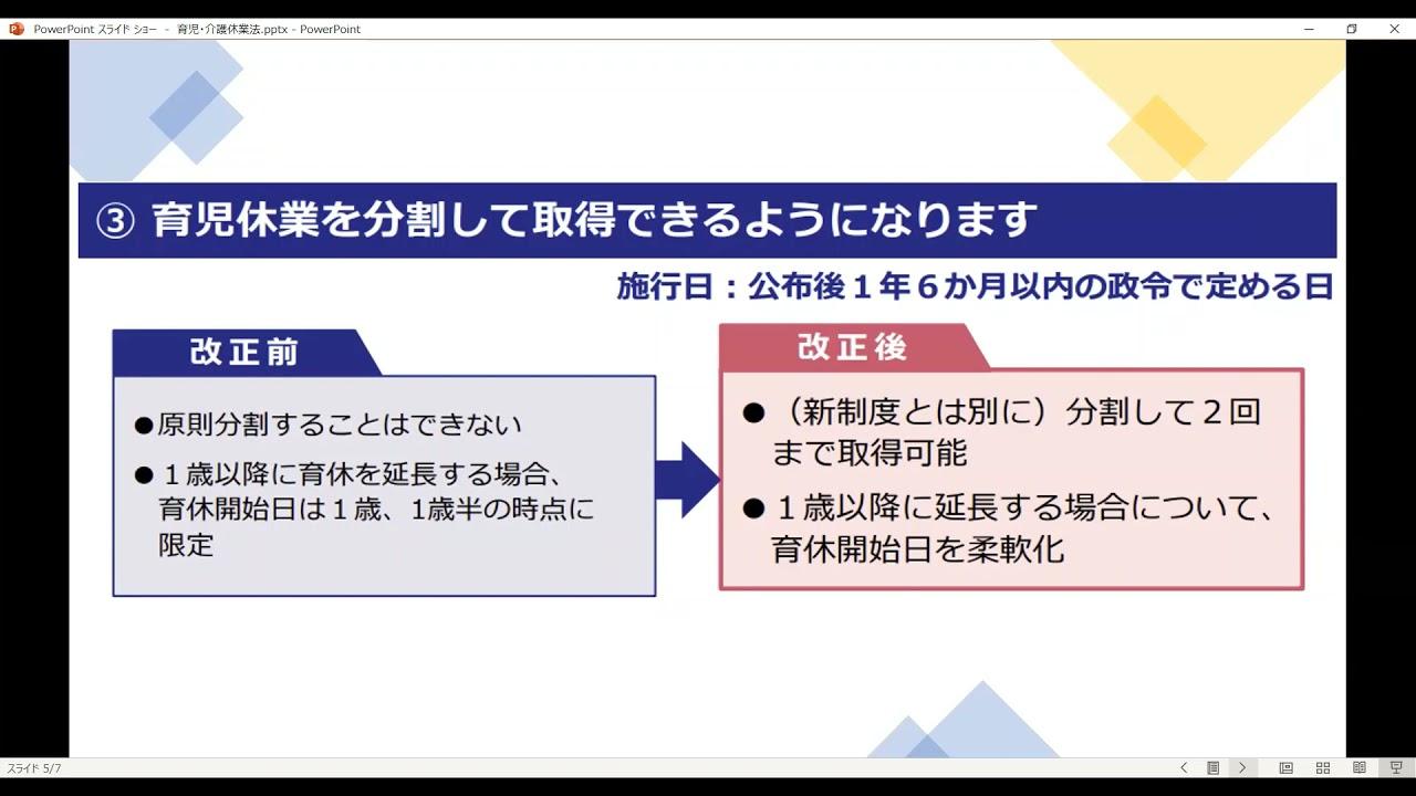 育児・介護休業法の改正ポイント(令和3年6月)
